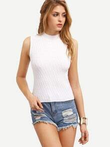 White High Neck Knit Tank Top