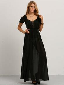 Black Cold Shoulder Split Maxi Dress