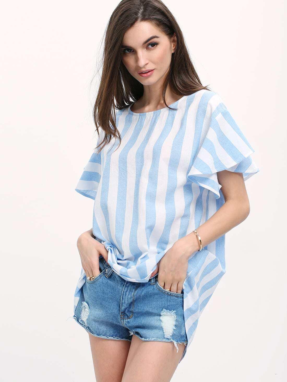 Фото Blue White Striped High Low Blouse. Купить с доставкой