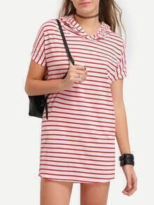 Striped Hooded Mini Dress