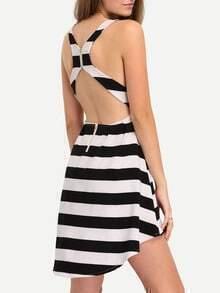 Striped Cutout Racerback High-Low Dress