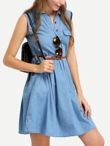 Sleeveless Denim Dress With Braided Belt