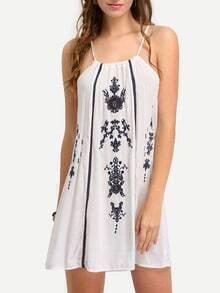 Drawstring Neck Embroidery Cami Dress