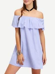 Vertical Striped Ruffled Off-The-Shoulder Dress