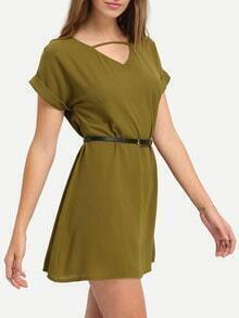 Cutout Neck Rolled Sleeve Dress With Belt