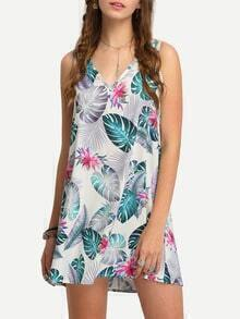 Tropical Print Cutout Swing Dress