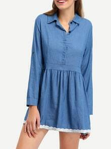 Lace Trimmed Rolled Sleeve Denim Dress