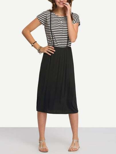 Striped Top Plain Bottom Dress