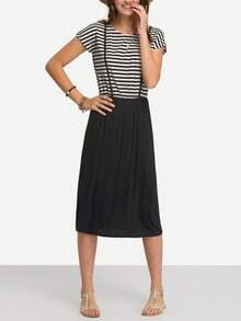 Striped Top Plain Bottom Dress