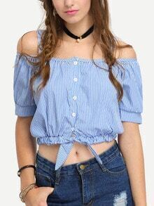 Vertical Striped Cold Shoulder Crop Blouse - Blue