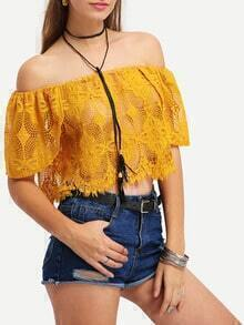 Off-The-Shoulder Hollow Out Crochet Blouse