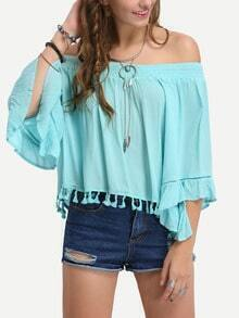 Off-The -Shoulder Tassel Trimmed Blouse - Blue