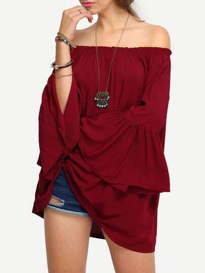 Shirred Oversized Fluted Sleeve Bardot Blouse