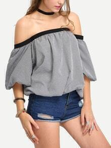 Off-The -Shoulder Lantern Sleeve Grid Top