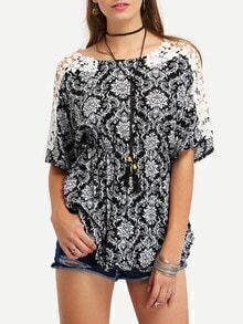 Lace Insert Sleeve Tribal Print Blouse
