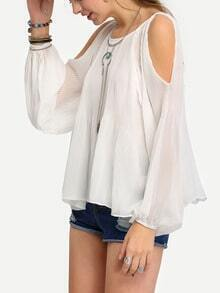 Open Shoulder Lantern Sleeve Blouse