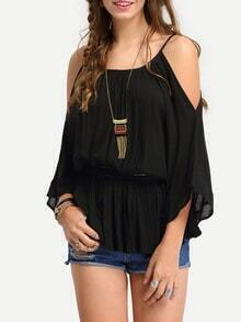 Cold Shoulder Peplum Cami Blouse