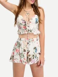 Flower Print Crop Peplum Cami Top With Shorts - White