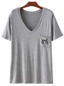 Light Grey V Neck Cat Print Pocket T-shirt