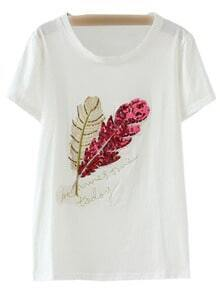 Red Short Sleeve Leaves Sequined T-shirt