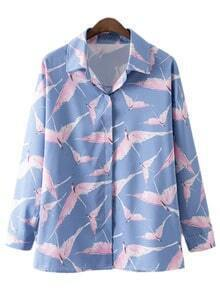 Multicolor Long Sleeve Buttons Front Birds Print Blouse