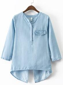 Blue Fake Pocket Cross Back Denim Blouse