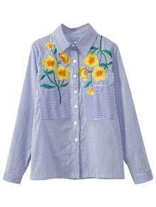 Blue White Stripe Pockets Flowers Embroidery T-shirt