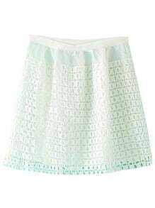 White Zipper Grids Skirt With Lining