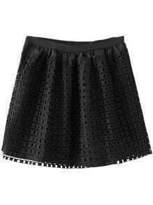 Black Zipper Grids Skirt With Lining