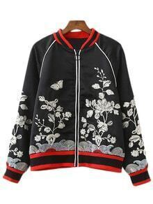Black Long Sleeve Zipper Front Embroidery Jacket