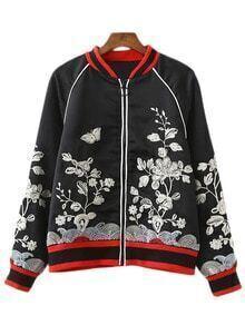 Black Long Sleeve Zipper Front Embroidery Jacket