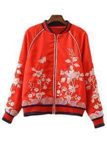 Red Long Sleeve Zipper Front Embroidery Jacket