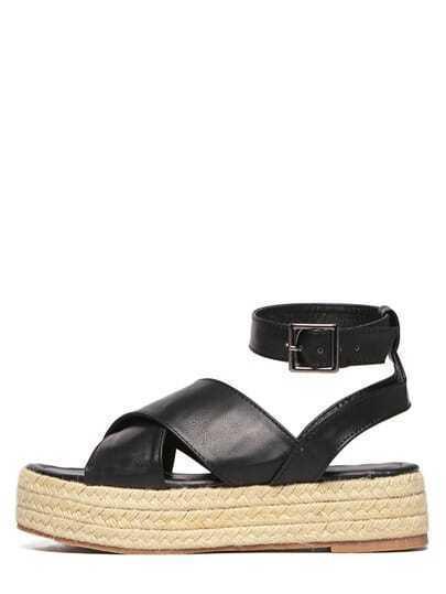 Black Faux Leather Crisscross Strap Espadrilles Sandals