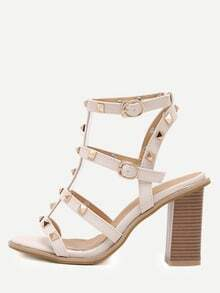 Apricot Open Toe Studded Chunky Gladiator Sandals