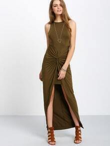 Army Green Sleeveless Knot High Low Dress
