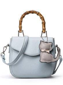 Bamboo Handle Bag With Cat Bag Charm - Baby Blue