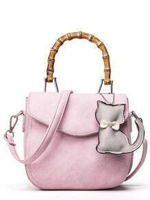 Bamboo Handle Bag With Cat Bag Charm - Pink