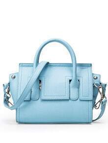 Embossed Faux Leather Trapeze Bag - Light Blue