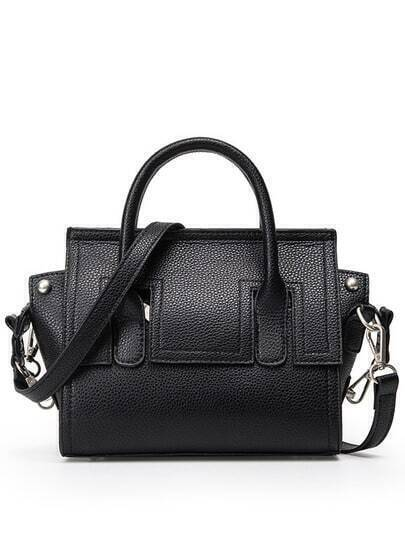 Embossed Faux Leather Trapeze Bag - Black