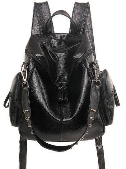 Studded Top Zip Backpack - Black