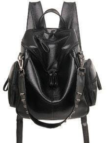 Studded Top Zip Backpack - Black