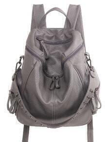 Studded Top Zip Backpack - Grey