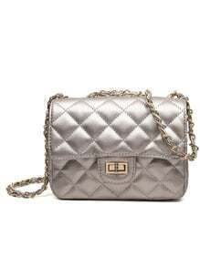 Quilted Turn-Lock Chain Flap Bag