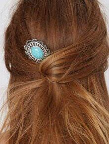 Turquoise Set-In Carved Hair Pin