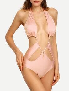 Halter Cutout One-Piece Swimwear