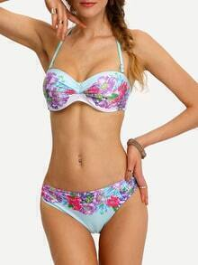 Flower Print Shirred Bikini Set