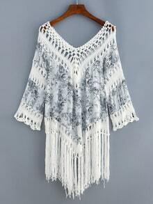 V Neck Fringe Hollow Out Print Shirt