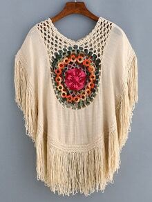 Apricot Crochet Hollow Out Fringe Shirt
