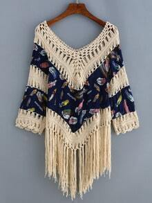 V Neck Fringe Hollow Out Feather Print Shirt