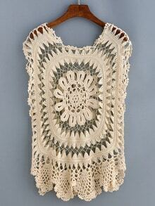 Plain Hollow Out Crochet Cover-Up Top